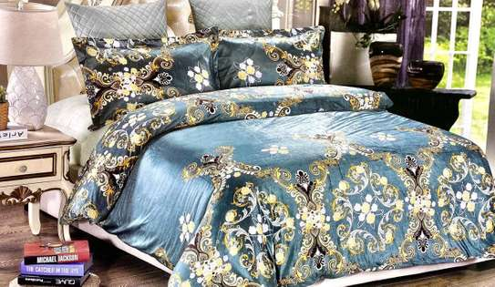 woolen duvet 6 by 6 gold and blue print image 1