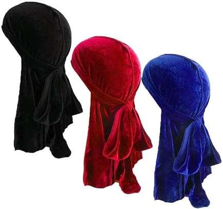 Black, red, blue velvet casual unisex durags image 1