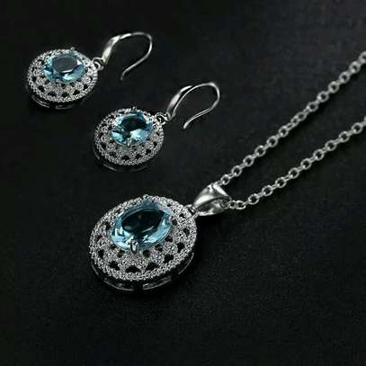 Sea blue earrings and chain set (with pendant), bridal set, gift