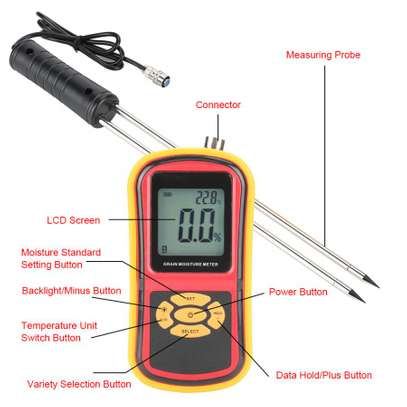 LCD Display Digital Grain Moisture Meter Humidity Wheat Corn Rice Bean Tester image 3