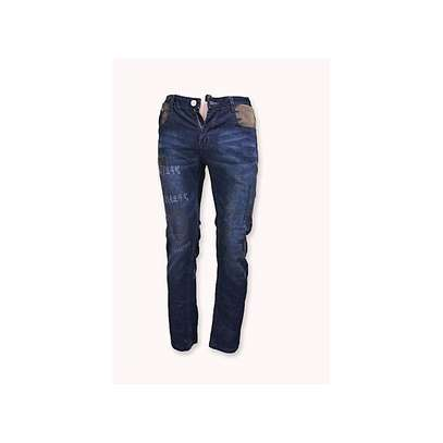 Male Blue Brown Jeans image 1