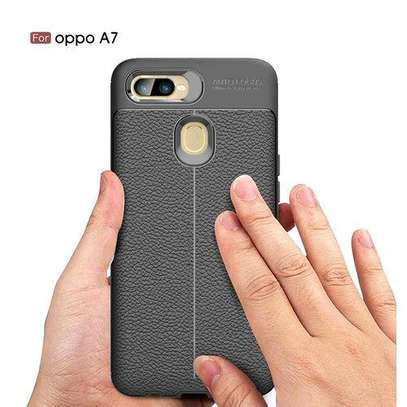Auto Focus Case Luxury Soft Silicon Litchi Striae Leather Cases For OPPOA7 Case Coque Shock Proof Back Cover (Black) image 3