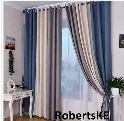 cream and blue polycotton curtain image 1