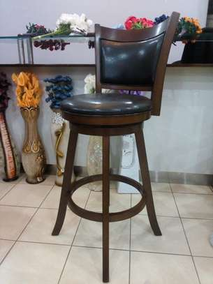 Raised Counter stools - Mahogany and Genuine leather image 2