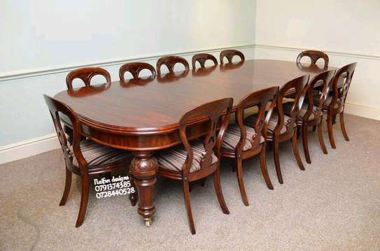 Twelve seater dining set/Mahogany wood dining set/twelve dining chairs image 1