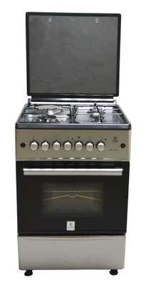 Mika Standing Cooker, 60cm X 60cm, 3G + 1E, Electric Oven, Silver