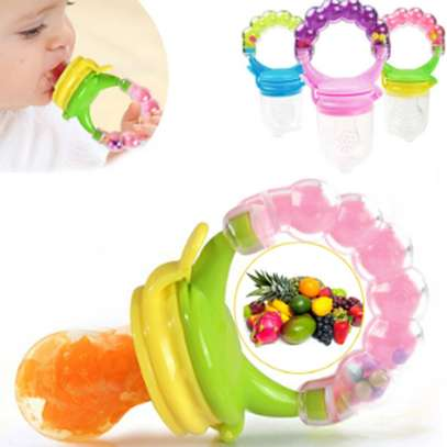 Silicone Baby Fruit Feeder Pacifier with Teething Rattle Toy image 1