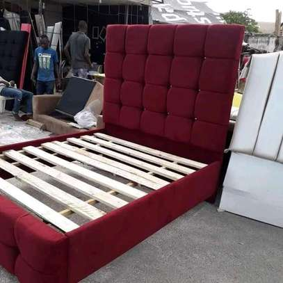 Fabulous Modern Quality 5by6 Upholstered Harwood Bed image 1