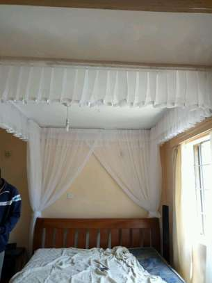 Mosquito Nets Sliding Like Curtains Fixed On The Ceiling image 7