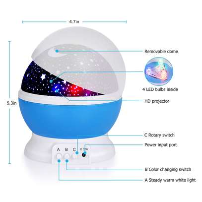 LED Projector Star Moon Nights Baby Night Lights Moon stars Degree Rotation 8 Color Changing Romantic Night Lighting Lamp image 14