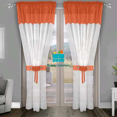 Made to measure orange white curtain blinds image 1