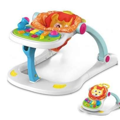 multifunctional musical lion four in one baby walker- white image 1