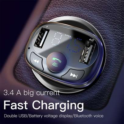 Baseus Dual USB 3.4A Car Charger MP3 Audio Player FM Transmitter Handsfree Aux Modulator Mobile Phone Charger image 3