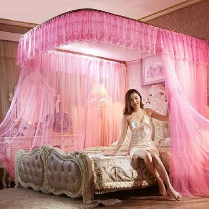 2 Stands Mosquito Net With Without Rails-Pink - 4*6/5*6/6*6 image 1