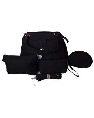Stylish 4 in 1 Black Hand Bag image 1