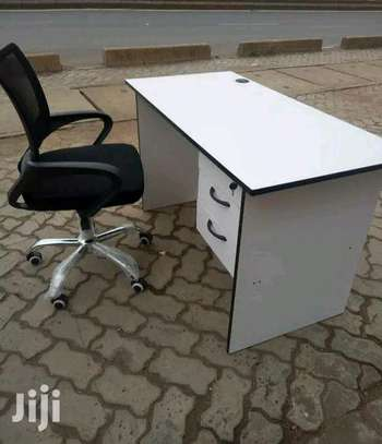 Laptop office table with a low back secretarial office chair T12A image 1