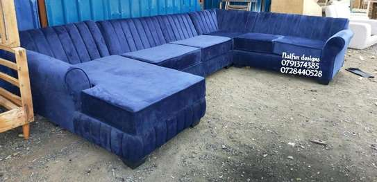 U shaped sofas/blue nine seater sofas/sofas and sectionals for sale in Nairobi Kenya image 1