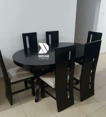 Black oval 6 seater dining table sets image 1