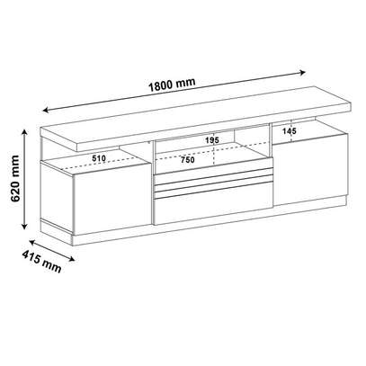 TV Stand Rack Munique ~ Up to 50 Inches TV Space image 3