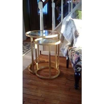 2 Piece Nesting Side Table Set (Gold) image 2