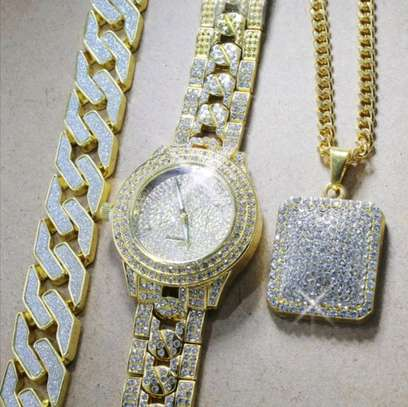 Iced Out Gold Watch+ Iced Out square pendant chain+Iced out Bracelet image 1