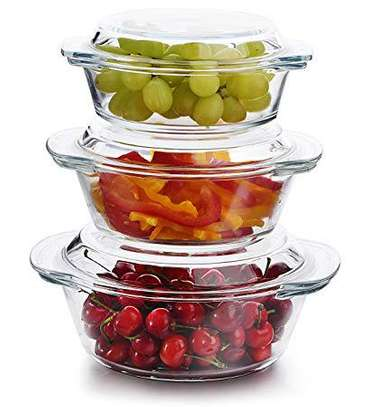Clear lid glass food container