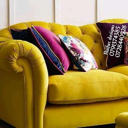 Yellow seats/velvet sofas/tufted three seater sofa image 3