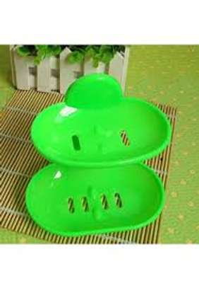 Double Layers Bathroom Soap Holder Rack -Green image 1