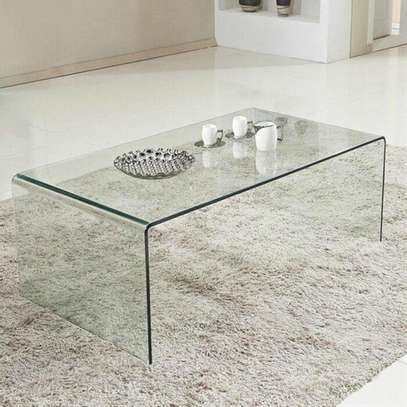 Bent clear glass coffee table image 1