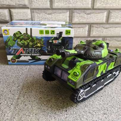 Kids Battery Operated Army Tanker Transformer Robot Toy image 2