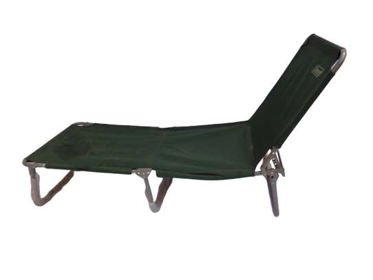 Green reclining sun lounger