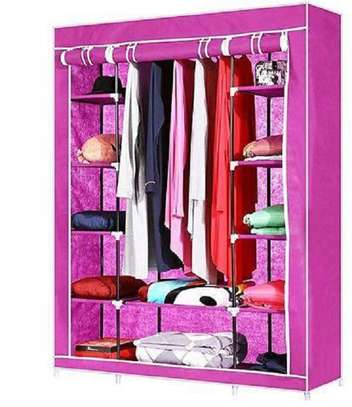 3 Column Wooden Wardrobe- Pink image 1
