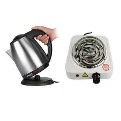 Electric Kettle 2Litres + A FREE Single Spiral Hotplate image 1