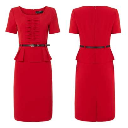 Plus Red Belted Peplum Dress Made in UK