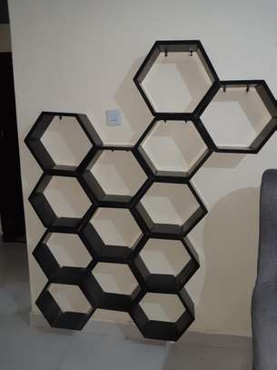wine rack / decorating honeycomb floating shelves image 2