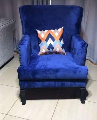Wing chair, dark blue image 1