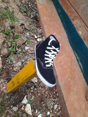 Black High Cut Canvas Breathable Rubber Shoes-Black image 3