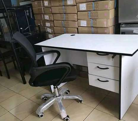 Adjustable swivel chair black plus a high quality office desk image 1