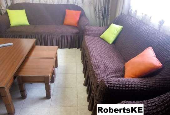 Turkish sofa covers 7 sitter brown image 1