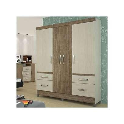 Wardrobe with 4 Doors & 4 Shelves - London Moval Wardrobe - Hazel/Oak image 2