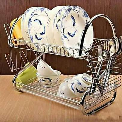 dish rack 2 tier  stainless steel image 1