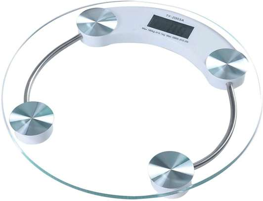 ROUND GLASS LCD BATHROOM WEIGHING SCALES - 150kg /23 stone image 1