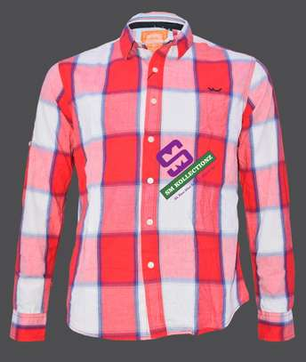 Red Big Checked Slim Fit Long Sleeved Shirts