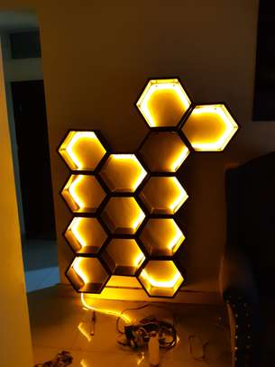 wine rack / decorating honeycomb floating shelves image 1
