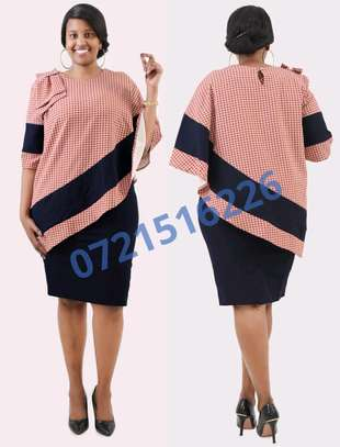 Peach and  navy dress image 1