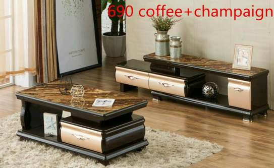 Tv stand coffee table marble image 1