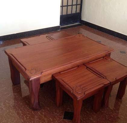 Solid Mahogany Coffee tables and stools image 4