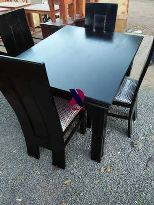 Black 4 Seater Dining Table. image 8