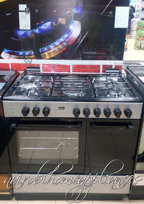 Von Hotpoint 8422SLV 4 Gas + 2 Electric Cooker - Silver image 1