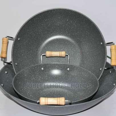 Granite Deep Pan 2 Handle Wooden image 1